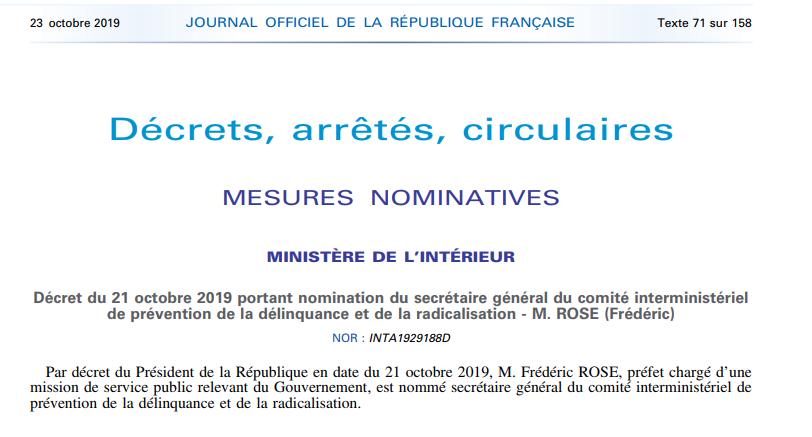 M. Frédéric ROSE, préfet, nommé secrétaire général du Comité interministériel de prévention de la délinquance et de la radicalisation