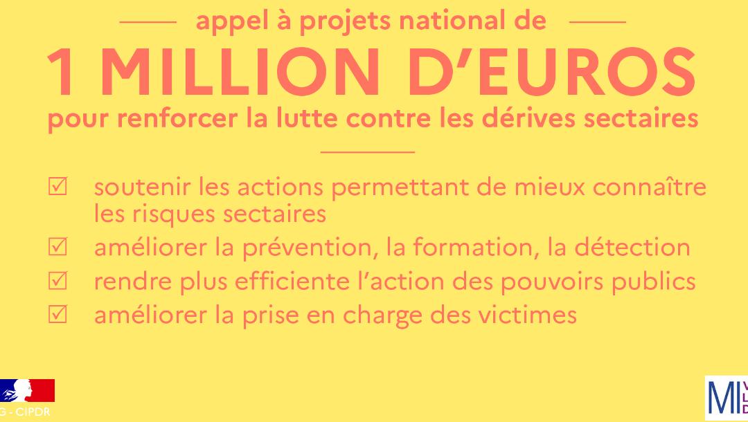 –  Appel à projets national 2021 « Lutte contre les dérives sectaires »  –